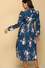 Load image into Gallery viewer, Floral Printed Log Sleeves Pleated Dress