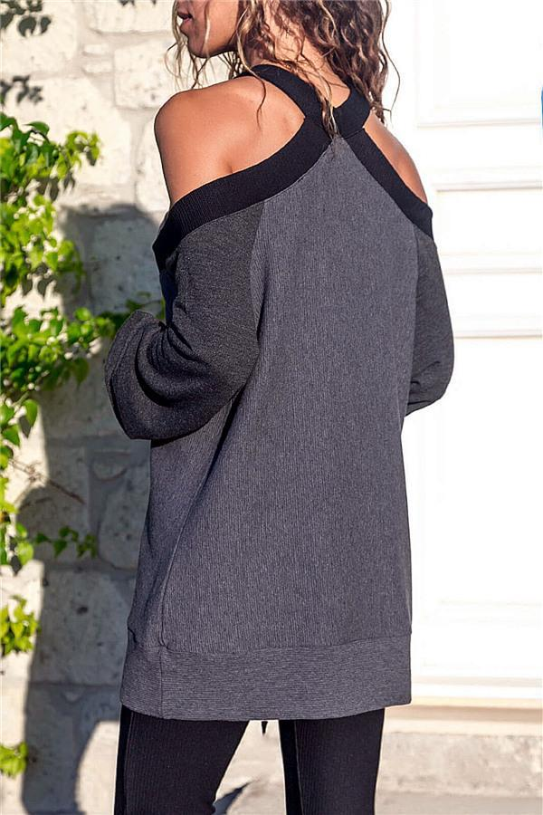 Cold Shoulder Leisure Sweater