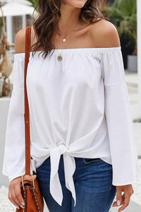 Loose Off-The-Shoulder Trumpet Sleeve Shirt