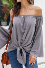 Load image into Gallery viewer, Loose Off-The-Shoulder Trumpet Sleeve Shirt