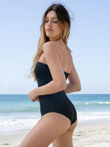Black Hollow Pattern One-Piece Swimsuit