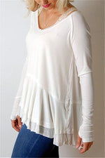 Load image into Gallery viewer, Solid Color Ruffle Hem Top
