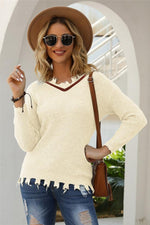 Load image into Gallery viewer, V-Neck Hole Solid Loose Knit Pullover