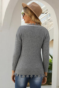 V-Neck Hole Solid Loose Knit Pullover