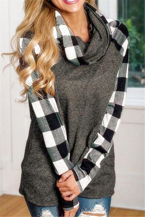 Contrast Plaid Trim Sweatshirt