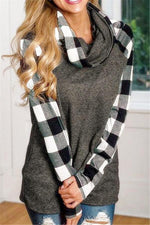 Load image into Gallery viewer, Contrast Plaid Trim Sweatshirt