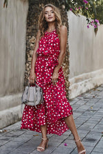 Load image into Gallery viewer, Polka Dot Lace Up Holiday Dress