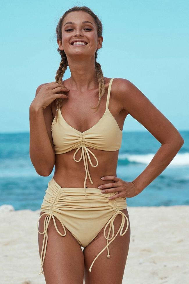 Solid High Waist Pleats Lace-Up Bikini Set