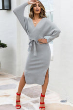 Load image into Gallery viewer, Backless Tie Up Knit Slim Dress