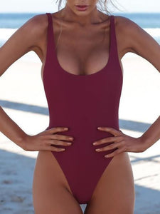 Less Is More Solid Color One Piece Bikini