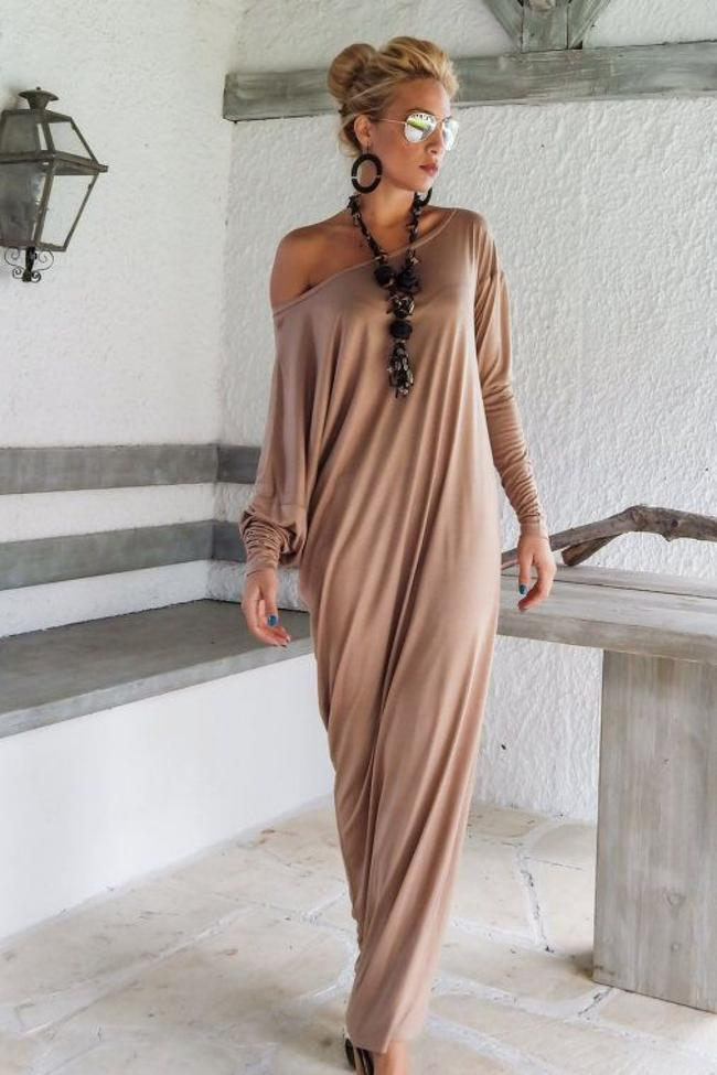 Elegant Loose Long-Sleeve Maxi Dress