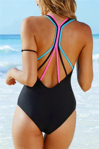 Rainbow Straps Black One Piece Swimsuit