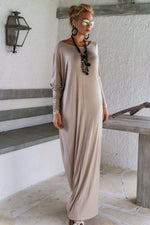 Load image into Gallery viewer, Elegant Loose Long-Sleeve Maxi Dress