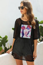 Load image into Gallery viewer, Mesh Splicing Cartoon Pattern Blouse