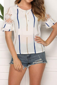 Flared Sleeves Off-Shoulder Chiffon Shirt