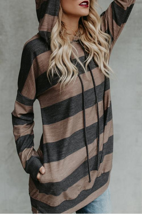 Branson Striped Pocketed Hoodie