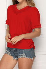 Load image into Gallery viewer, V-Neck Solid Color Hollow Loose Top