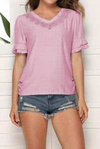 V-Neck Solid Color Hollow Loose Top