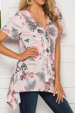 Load image into Gallery viewer, V-Neck Print Irregular Mid-Length Top