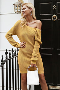 Off Shoulder Backless Cross Sweater Dress