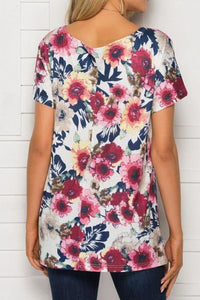 Printed Round Neck Short Sleeve Loose Top