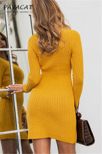 Load image into Gallery viewer, Answer The Call Yellow Sweater Dress