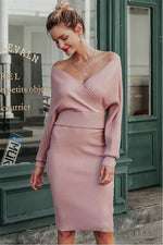 Load image into Gallery viewer, Batwing Sleeve 2 Pieces Sweater Dress