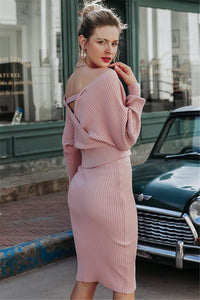 Batwing Sleeve 2 Pieces Sweater Dress