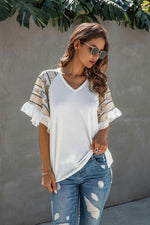 Load image into Gallery viewer, Color Stitching Chiffon Ruffled V-Neck T-Shirt