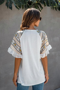 Color Stitching Chiffon Ruffled V-Neck T-Shirt