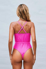 Load image into Gallery viewer, Cross Band And Belt One Piece Swimsuit