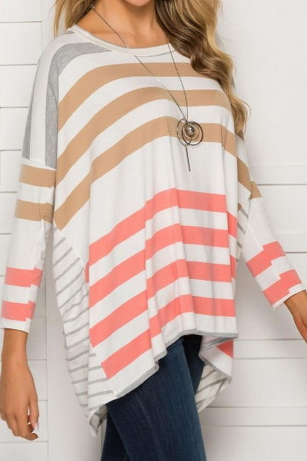 Round Neck Loose Stripe Long Sleeve