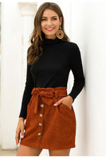Load image into Gallery viewer, High Waist Elastic Pocket A-Line Skirt