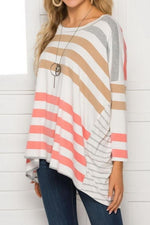 Load image into Gallery viewer, Round Neck Loose Stripe Long Sleeve