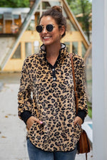 Load image into Gallery viewer, Leopard Stand Collar Buttons Sweatshirt