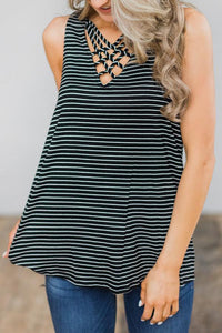 Striped Sleeveless Hollow Out T-Shirt