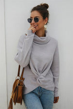 Load image into Gallery viewer, Pure Color High Neck Twist Sweater