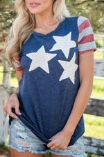 Load image into Gallery viewer, Round Neck American Flag Short Sleeve T-Skirt