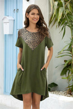 Load image into Gallery viewer, Leopard Stitching Pocket Loose Dress