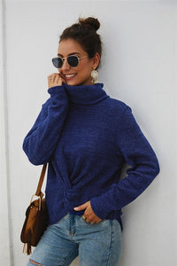 Pure Color High Neck Twist Sweater