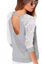 Load image into Gallery viewer, Lace Patchwork Cut Out Sweatshirt