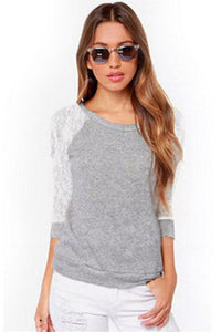 Lace Patchwork Cut Out Sweatshirt