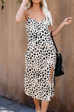 Load image into Gallery viewer, Leopard Sleeveless Slit Slip Dress