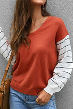 Load image into Gallery viewer, Color Block Lantern Sleeve Sweater
