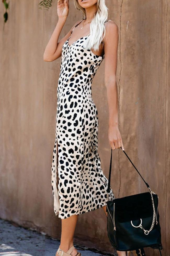 Leopard Sleeveless Slit Slip Dress