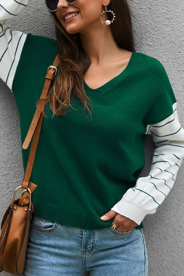 Color Block Lantern Sleeve Sweater