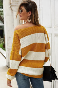 Striped Long-Sleeved Loose Sweater
