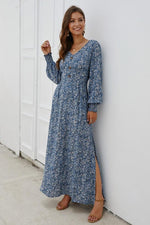 Load image into Gallery viewer, Floral V Neck Long-Sleeved Mid Dress