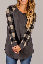 Load image into Gallery viewer, Plaid Patchwork Long Sleeve T-Shirt