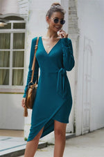 Load image into Gallery viewer, Solid Color Irregular Knot Mid Dress